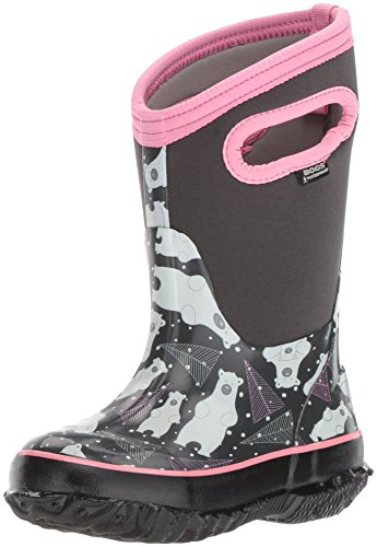 Bogs Unisex-Kids Classic Bears Snow Boot, Dark Gray Multi, 11 M US Little Kid