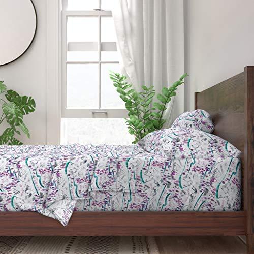 Roostery Sheet Set, Kid' Girl' Room Decor Nursery Adventure Pink Purple Blue Tomboy Print, 100% Itallian Cotton Sateen Sheet Set, Twin (Room Tomboy Decor)