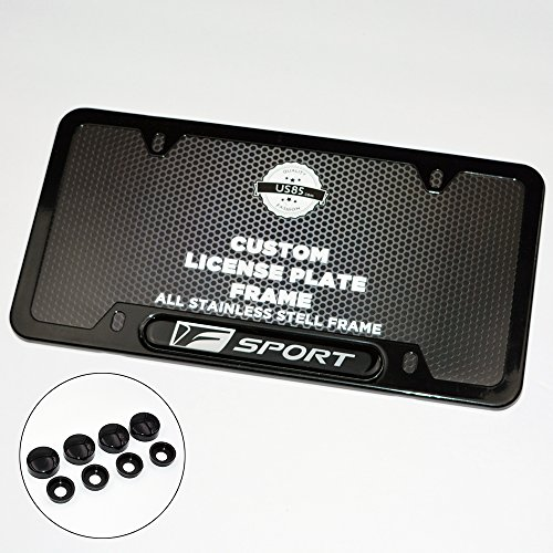 (Black Stainless Steel Front Rear For Lexus F-Sport Emblem License Plate Frame Cover Holder Gift)