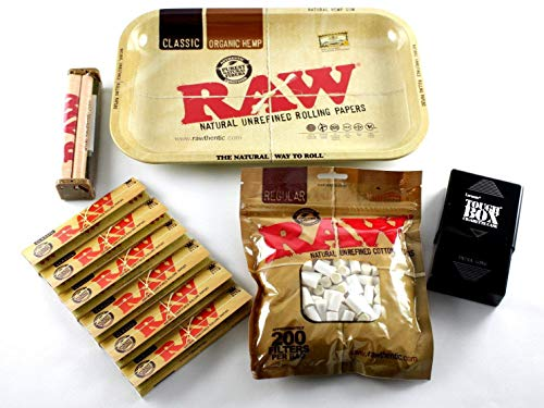 (RAW Rolling Tray + 110mm RAW Roller + RAW King Size Rolling Papers + RAW Filter Tips + Laramie Cigarette Case Bundle /)