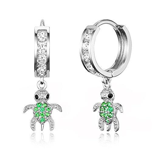 925 Sterling Silver Rhodium Plated Channel CZ Turtle Baby Girl Hoop Huggie Earrings (Rhodium Turtle)
