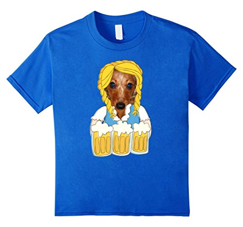 Dirndl Costume For Dogs (Kids Funny Oktoberfest TShirt Dachshund Dog German Dirndl Costume 8 Royal Blue)
