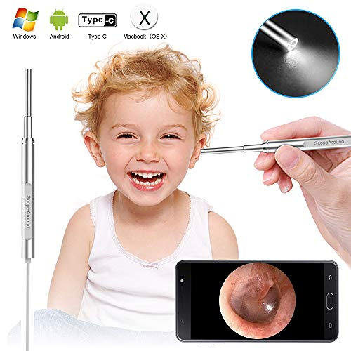 Digital Otoscope Ear Camera - Scopearound New Upgrade 4.3mm Ultra-Slim HD Ear Scope Otoscope Camera, Ear Earwax Cleaning Tool with 6 Adjustable LED Lights for Android, Window and Mac