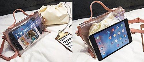 Süßigkeitfarben Transparente Umhängetasche PU-Beutel Wasserdichte Plastiktasche PVC-Beutelhandtasche Arbeiten Sie Kuriertasche 2 Stücke HQ.ADIER Pink iowvJXfv