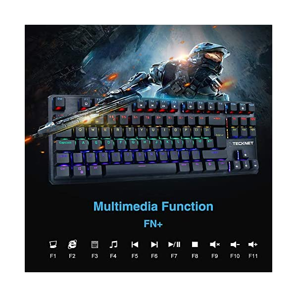 TeckNet Mechanical Keyboard Rainbow Backlit Illuminated Wired Gaming Keyboard with Blue Switches, 87 Keys Full Anti…