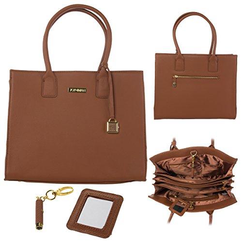 JOY & IMAN Genuine Leather Hollywood Glamour Handbag Tote - Rich ()