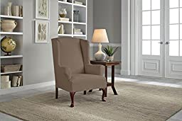 Serta 1 Piece Reversible Stretch Suede T Wingback Chair Slipcover, Brown/Ivory