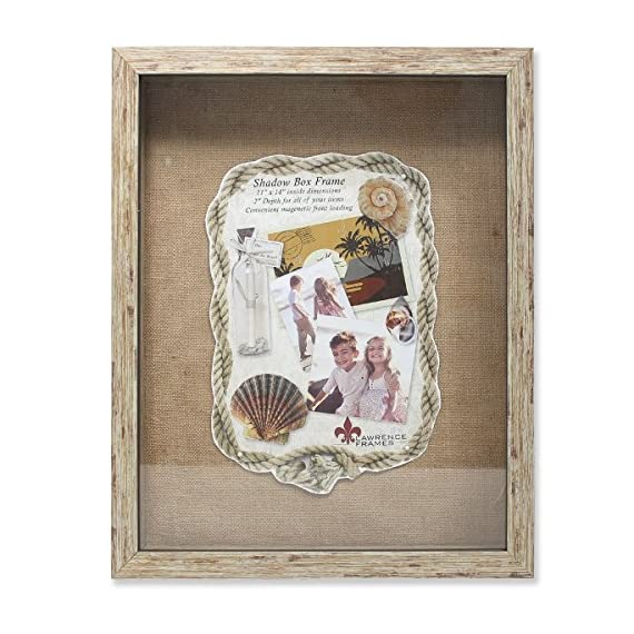 """Lawrence Frames Weathered Front Hinged Shadow Box Frame with Burlap Display Board, 11 by 14-Inch, Natural - Quality deep shadow box frame with 2"""" of depth inside Constructed of composite material; burlap display area Great for scrapbook projects - picture-frames, bedroom-decor, bedroom - 510zgcLPviL. SS570  -"""