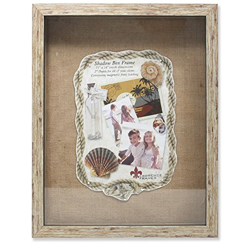 (Lawrence Frames Weathered Front Hinged Shadow Box Frame with Burlap Display Board, 11 by 14-Inch, Natural)