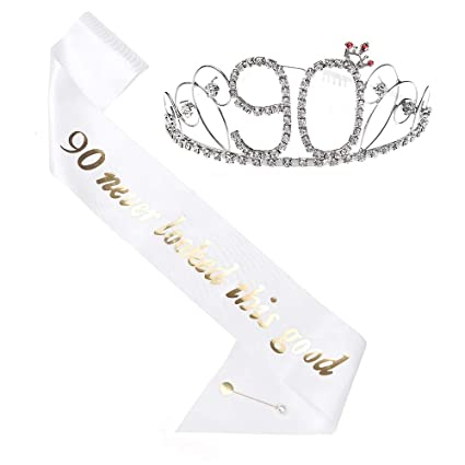 Amazon.com: Tiara de 90 cumpleaños y sash, HAPPY 90 ...