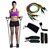 PETOU 11pcs/set Resistance Bands with Handle- Workout Bands for Resistance Training, Physical Therapy, Home Workouts, Yoga, Pilates- Stackable Up To 100 lbs