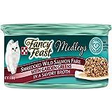 Fancy Feast Elegant Medley`s Shredded Wild Salmon Fare w/ Garden Greens Canned Cat Food 24 - 3oz Cans