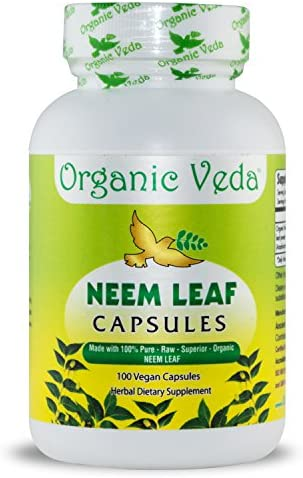 Organic Neem Leaf Powder 100 Veg Capsules. 100 Pure and Natural Raw Herb Super Food Supplement. Non GMO