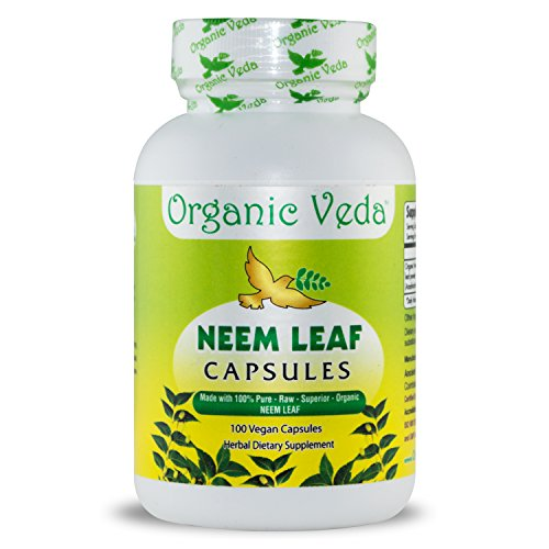 Organic Neem Leaf Powder 100 Veg Capsules. 100% Pure and Natural Raw Herb Super Food Supplement. Non GMO, Gluten FREE. US FDA Registered Facility. Kosher Certified Vegetarian Capsule. All Natural! ()