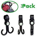 Stroller Hooks By Lebogner - 3 Pack Multi-Purpose Rotating Hooks Great For Strollers, Shopping Carts, Bikes, And More, Perfect Stroller Accessories For Hanging Baby Diaper Bags, Purses, Shopping Bags