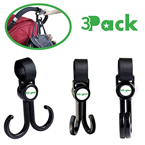 Stroller Hooks By Lebogner - 3 Pack Multi-Purpose Rotating Hooks Great For Strollers, Shopping Carts, Bikes, And More, Perfect Stroller Accessories For Hanging Baby Diaper Bags, Purses, Shopping Bags by lebogner