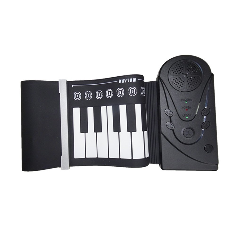 LOBZON Rollup piano portable 49 key soft elastic electronic music keyboard piano, rechargeable/battery for beginners gift (Black)