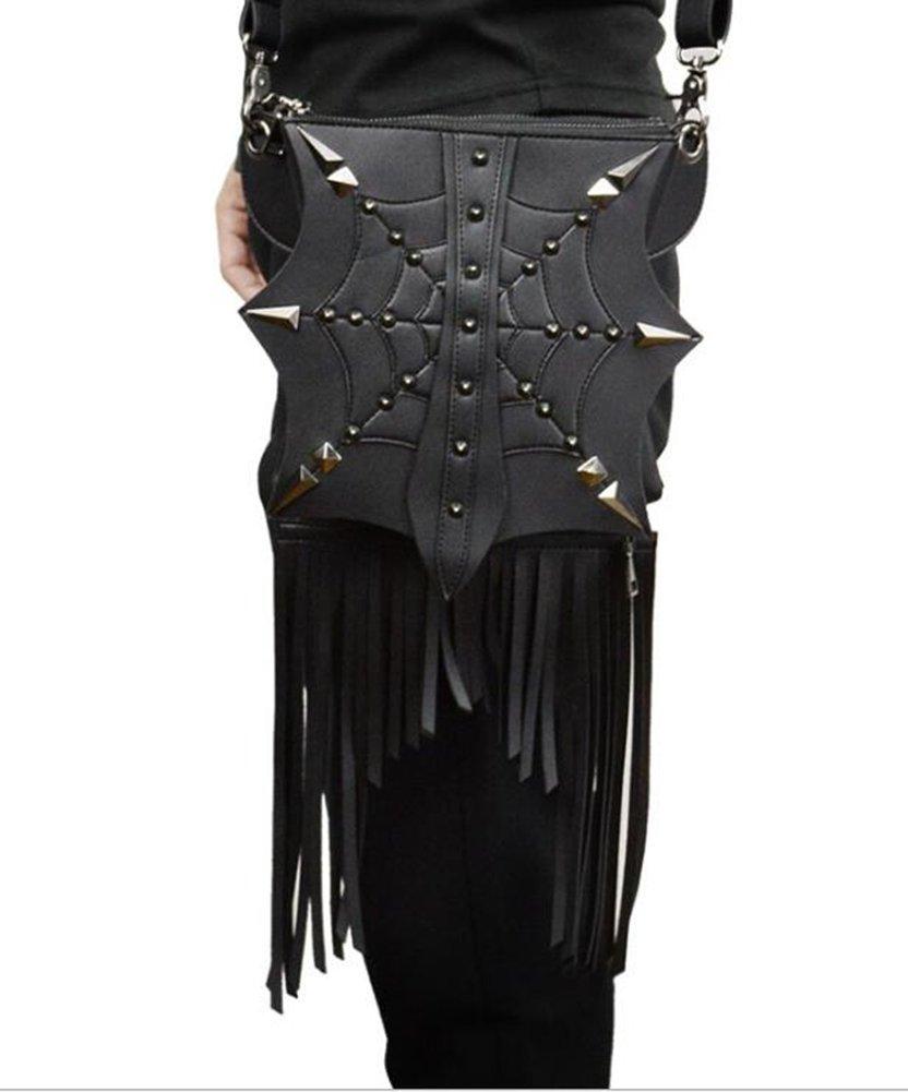 JACKDAINE Women's New Stylish PU Steampunk Solid Color Tassel Bag Ladies Shoulder Bag