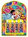 B'LOONIES Blow up Bubble Balloons ~ Blow up with a Straw or Tube ~ 4 Straws & 4 Tubes of Gooey Plastic Colors!