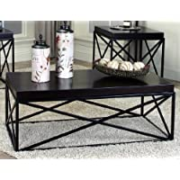 Roundhill Furniture Erica Black Metal and Espresso Wood Coffee Table