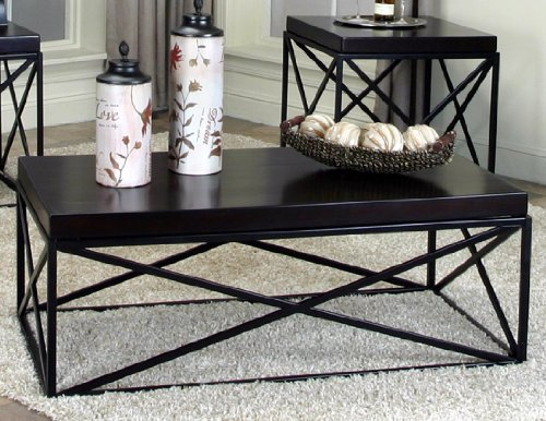 Roundhill Furniture Erica Black Metal and Espresso Wood Coff