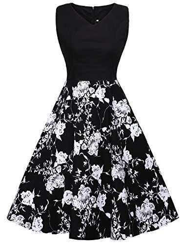 FAIRY COUPLE 1950S Vintage Rockabilly Lunares Vestido de Baile DRT072(M,Negro+Negro Blanco Flores)
