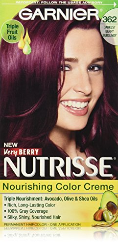 Garnier Nutrisse Nourishing Hair Color Creme, 362 Darkest Berry Burgundy (Packaging May - Purple Burgundy Is