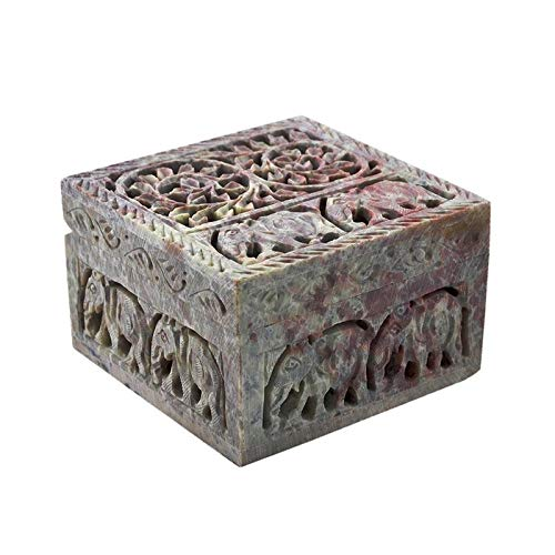 - Hashcart Hand-Crafted Soapstone Decorative Jewellery Box - with Attractive Lattice Design - Perfect for Your Dressing Table/Gifts