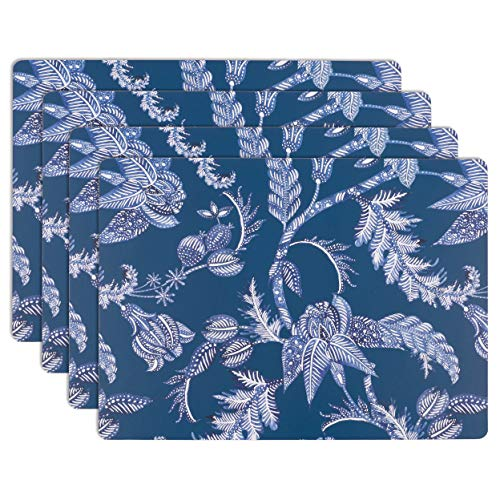 House and Home Cork Placemats 16 x 12-Inch Set of 4 (Indigo Batik Floral Print)