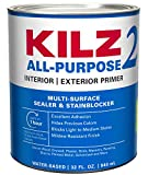 KILZ 2 Multi-Surface Stain Blocking Interior/Exterior Latex Primer/Sealer, White, 1 quart