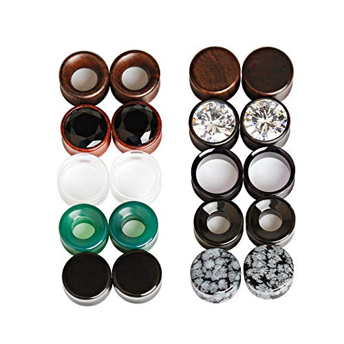 TBOSEN 20 pcs Set Mixed Stone Ear Plugs Wood Tunnels Double Flare Saddle Stretching Gauges Expander Body Piercing Set Gauge 2g - 5/8 inch