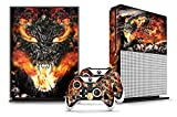 Designer Skin Sticker for the XBOX ONE S Console With Two Wireless Controller Decals – Firestorm