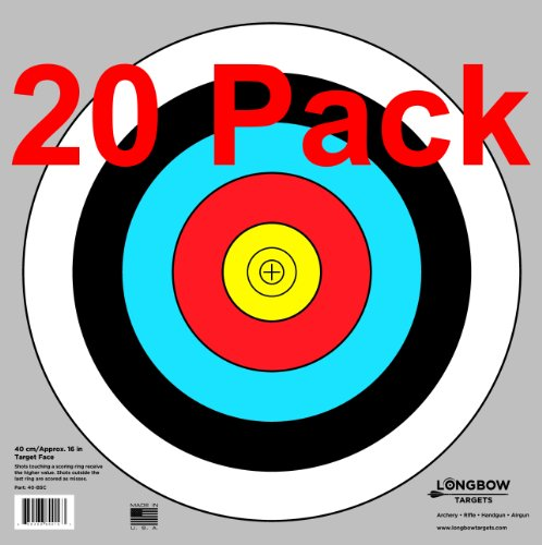 Archery 40cm & 80cm Targets by Longbow (20 pack, 40cm/approx 17″ (5 Ring))