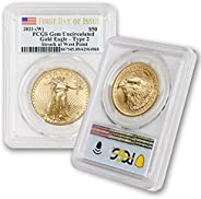 2021 (W) 1 oz Gold American Eagle Gem Uncirculated (First Day of Issue - Type 2 - Struck at The West Point Min