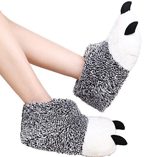 Pantofole Peluche Fuzzy Morbide Zampe Animali Scarpe Da Ballo Novità Per Uomo Donna Grigio