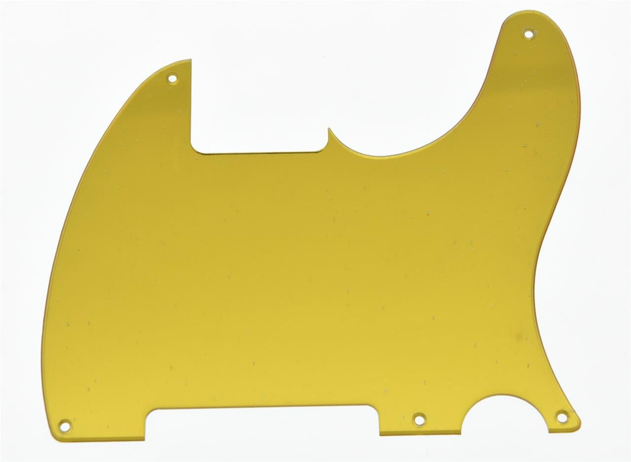 KAISH 5 Hole Tele Blank Guitar Pickguard Scratch Plate Fits Fender Telecaster Esquire Gold Mirror