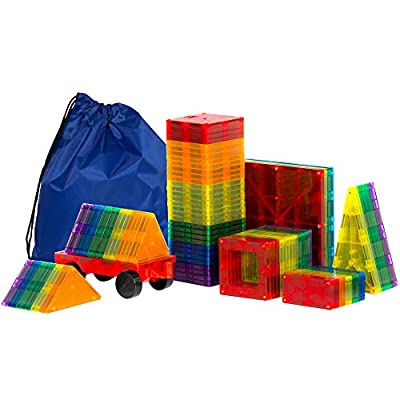 Best Choice Products 100-Piece Transparent Rainbow Magnetic Building Geometric Tiles w/ Wagon and Carrying Case - Multi: Toys & Games