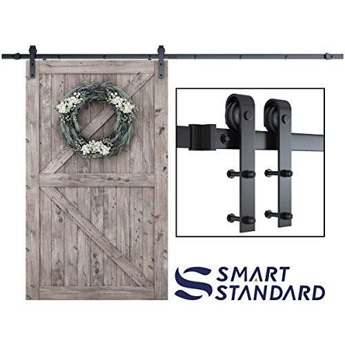 """SMARTSTANDARD 10FT Heavy Duty Sturdy Sliding Barn Door Hardware Kit, 10' Double Track Rail, Super Smoothly and Quietly, Simple and Easy to Install, Fit 60"""" Wide DoorPanel (J Shape Hanger)"""