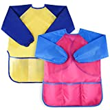 2 Pack Kids Art Smocks, BATTOP Children Waterproof Play Artist Painting Aprons Long Sleeve with 3 Pockets for Age 2-8 Years