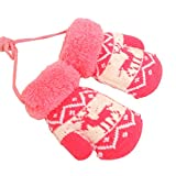 Kids Winter Plush-lined Mittens with String Christmas Deer Pattern Thicken Gloves, #04