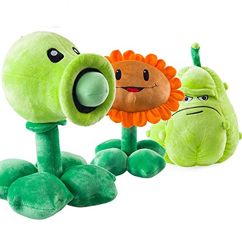 RAFGL 3Pcs/Lot Plants Vs Zombies Pea Shooter Sun Wer Squash Stuffed Plush Toys Games PVZ Soft Plush Toy Doll for Kids Children Gifts Thing You Must Have 7 Year Old Boy Gifts Girl S Favourite by RAFGL