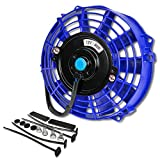 7 radiator fan - 7 Inch High Performance Blue Electric Radiator Cooling Fan Assembly Kit