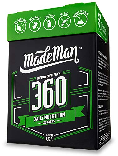 Daily Vitamin Packs - Made Man 360 Complete Daily Nutrition Packs for Men with Vitamins, Minerals, Omega-3s and Probiotics (30-day Supply, 30 Count)