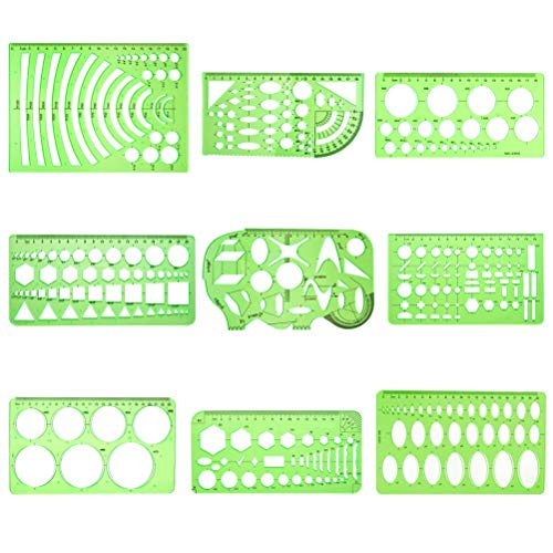 9 Pcs Measuring Drawing Templates, Cooyeah Multi-Function Plastic Geometric Rulers for Office and School, Building Formwork, Clear Green