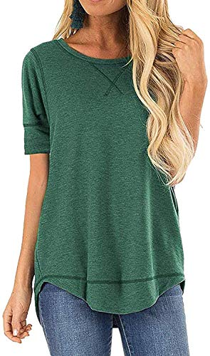 CIZITZZ Women's Shirts Tops Summer Short Sleeve Casual Fashion Side Split Blouse T-Shirt Green L