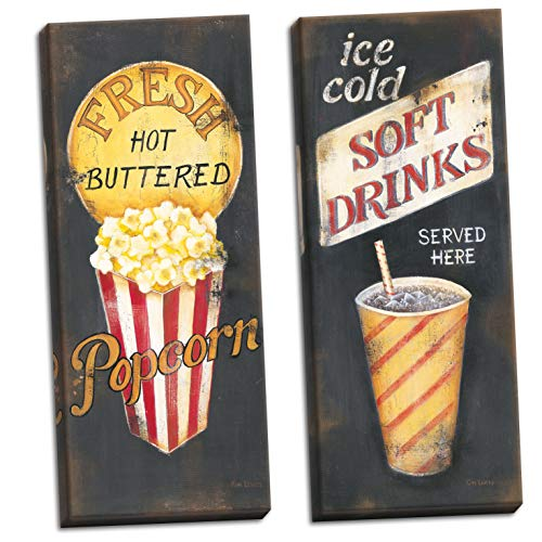 - The Studio Resource, Inc. Movie Night! Old-Fashioned Cinema Fresh Hot Buttered Popcorn and Ice Cold Soft Drinks Refreshment Panels; Two 8x20in Stretched Canvases
