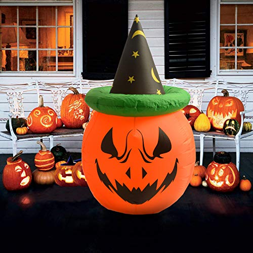 Virtuapod 4 Foot Halloween Inflatable Air Blown Pumpkin with Hat Lighted for Home Yard Garden Indoor and Outdoor Decoration