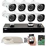 GW 8 Channel 4K 8MP NVR Sony Starvis HD 1920P Audio & Video Motorized Zoom Home Security System - 8 x Bullet 5 Megapixel 2.8-8mm 3X Optical Zoom Waterproof IP PoE Cameras Built-in Microphone