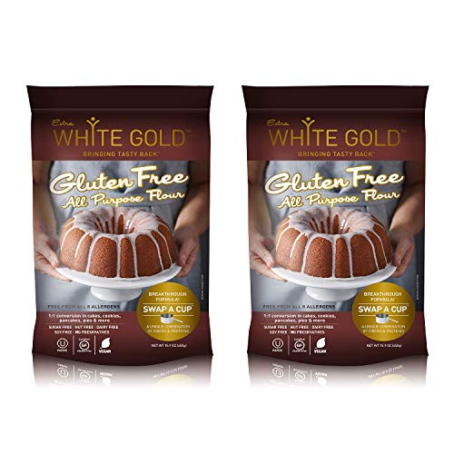 Extra White Gold Gluten Free All Purpose Flour – Gluten Free Flour Blend For Baking & Cooking – [Kosher] [Gluten Free] [Vegan] [Soy Free] [Nut Free] [Dairy Free] [Sugar Free] – 15.9 Ounces (2 pack) (Flour No Wheat)