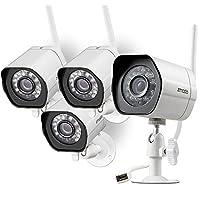 Sistema de cámara de seguridad inalámbrica Zmodo (paquete de 4), Smart Home HD Cámaras IP WiFi para exteriores con visión nocturna, grabación de 1 mes gratis en la nube